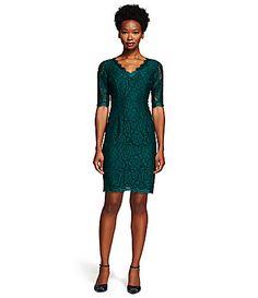 Adrianna Papell Scalloped Lace Sheath Dress #Dillards