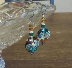 "2 1/4"" Lampwork and Copper Drop Earrings,  Gypsy, Moroccan, Handmade, Colorful, Tribal,  Native American, Teal and liac swirls, Ethnic, Boho by NEWFACED on Etsy"