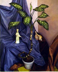 """Still Life with China Doll,"" Luigi Lucioni, 1946, oil on canvas, 33 × 26 1/4"", ACA Galleries."