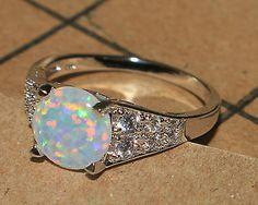 white fire opal Cz ring gemstone silver jewelry Sz 8 modern engagement design F4