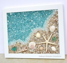 Made To Order, Beach Art, Shell Art, Beach Window, Shell images ideas from All About Beach Sea Glass Crafts, Sea Glass Art, Stained Glass Art, Seashell Art, Seashell Crafts, Seashell Projects, Art Texture, Glass Texture, Broken Glass Art
