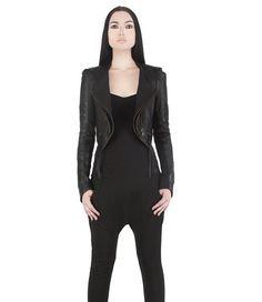 RIBBED CROP JACKET -  Women's Leather Jacket - Black Lambskin Riding Jacket, Hand Cast Zip Pull - Haus of Sparrow - Designer Monica Wallway