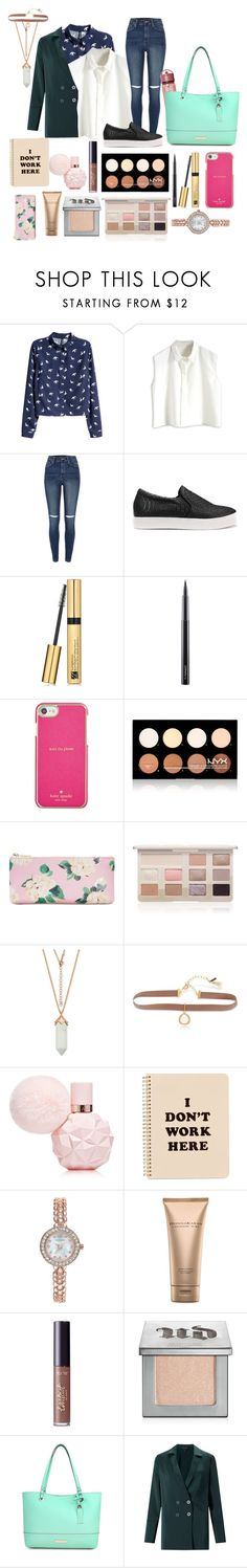 """""""Office 1️⃣"""" by mazzyfaye on Polyvore featuring H&M, River Island, Estée Lauder, MAC Cosmetics, Kate Spade, NYX, ban.do, Too Faced Cosmetics, Lonna & Lilly and Charter Club"""