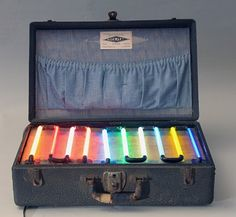 An example of the rainbow effect in a vintage neon-salesman suitcase. Courtesy of Hively.