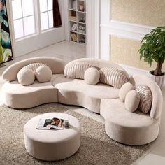 Modern Modular Sofa Round Sectional Sofa Beige Velvet Upholstered Modular Sofa with Ottoman & Pillows - Sectionals - Living Room Furniture - Furniture Gebogenes Sofa, Sofa Set, Sofa Pillows, Cushions, Throw Pillows, Cozy Sofa, Ottoman Sofa, Upholstered Sofa, Sleeper Sofa