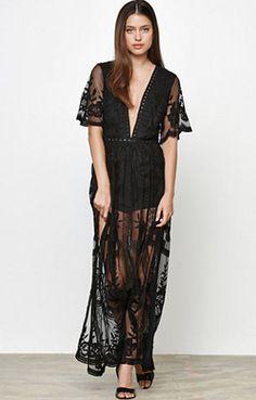 Gemma Lace Maxi Dress - Black