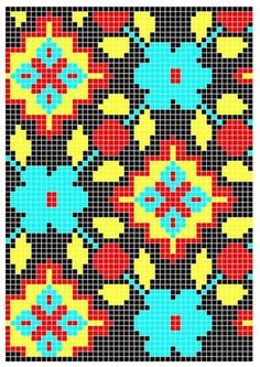 Bead Patterns for Loom Work or Square Stitch ___ Crochet Snowflake Pattern, Tapestry Crochet Patterns, Bead Loom Patterns, Beading Patterns, Cross Stitch Patterns, Knitting Charts, Knitting Patterns, Mochila Crochet, Graph Paper Art
