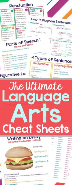 Language Arts Cheat Sheets - a must-have for every student!  (aff)