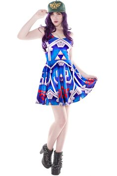 This Hylian Shield Skater is based on the classic Hylian shield. Blue in color, the Hylian royal crest and Triforce stand out Comfy Dresses, Summer Dresses, Zelda Dress, Living Dead Clothing, Dress Outfits, Cute Outfits, Nerd Fashion, Geek Girls, Geek Chic