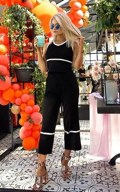 Black Emilly Culotte Pleated Stripe Co-ord. Our EMILLY co-ord is to die for! Featuring cute stripe design, sleeveless v-neck… Co Ord, Stripes Design, Jumpsuit, V Neck, Cute, Black, Tops, Dresses, Style