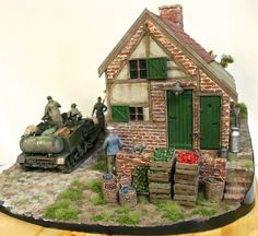 Jan Vereerstraeten Military Diorama, Military Vehicles, Miniatures, Cabin, Bitter, House Styles, Gallery, Buildings, Track