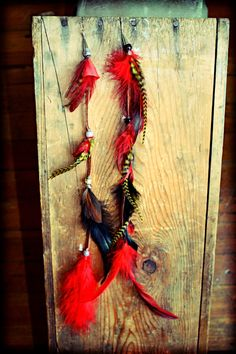 Long Leather Tribal Feather Earrings14 inches long by Cloud9Jewels