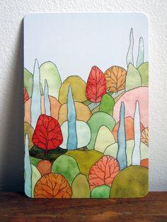 Lovely Landscape Art Postcard - based on original watercolor painting. $2.00, via Etsy.
