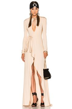 ALESSANDRA RICH Jersey Asymmetrical Gown. #alessandrarich #cloth #