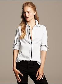 Women's Petite Blouses & Shirts.| Banana Republic &97.50 - classic white shirt with contrast piping - PETITE!
