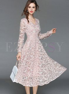 Shop Pink Elegant Embroidered Lace Dress at EZPOPSY. Lace Midi Dress, Maxi Dress With Sleeves, Lace Dresses, Sleeve Dresses, Mothers Dresses, Groom Dress, Elegant Dresses, Dress Patterns, Designer Dresses