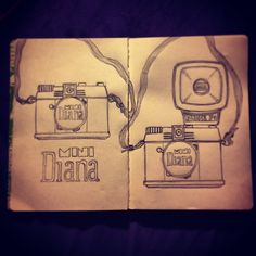 Quick sketches of my mini diana camera.