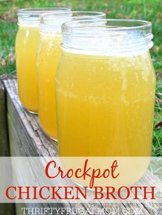 Learn how to use chicken bones to make your own homemade chicken broth in the crockpot. It's super easy, will save you money, plus the flavor is amazing. You'll never want to use store bought broth again!