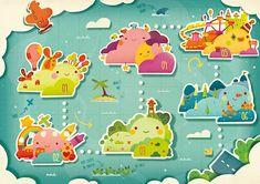 Le Chemin des Nuages | alxfactory.com Game Design, Work Cartoons, Game Gui, Super Mario Art, Game Background, Game Concept Art, Instructional Design, Children's Book Illustration, Character Illustration