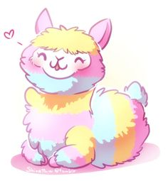 Rainbow Alpaca Fluff by ShinePawArt on DeviantArt