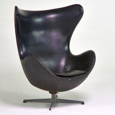 Lot No. 486 Arne Jacobsen for Fritz Hansen Egg chair, Denmark, 1950s; Aluminum, vinyl; Raised signature to underside of base