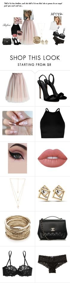 """""""Well it turns out she's devil in between the sheets, and there is nothing she can do about it"""" by dmb0719 on Polyvore featuring Chicwish, Giuseppe Zanotti, Boohoo, Concrete Minerals, Lime Crime, Natalie B, Sole Society, Chanel, La Perla and Hollister Co."""