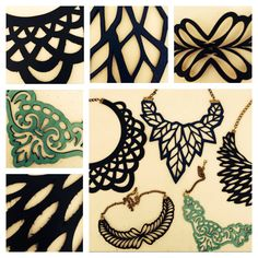 leather laser cut necklace collars