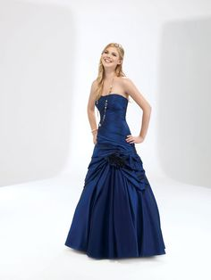 Ball gown strapless neck gorgeous taffeta with dropped waist home coming dress
