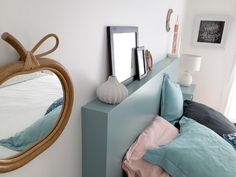 DIY: a box headboard - Here is the article promised to explain to you how I realized my headboard! I& not a pro and - Diy Headboards, Headboard Ideas, Diy Home Decor Projects, Farmhouse Homes, Mason Jar Diy, Diy Design, Diy Furniture, Room Decor, Voici