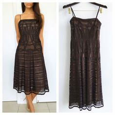 """BCBGMAXAZRIA Elegant Brown Mesh Dress BCBGMAXAZRIA Elegant Brown Mesh Dress! Perfect dress for that special occassion coming up! Excellent condtion. Boned bodice. Belt loops add any belt you love. Nude lining. Mesh details. Invisible back zipper. Adjustable strapes. 100% polyester.Size 2 fits true to size. Measurements Chest-32"""" waist-26"""" hips-38"""" length-44"""" BCBGMaxAzria Dresses Midi"""