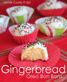 Gingerbread Oreo Bon Bons (only 3 ingredients)1 (15.25 ounce) package Gingerbread Oreo Cookies 1 (8 ounce) package cream cheese, softened 16 ounces white Candy Melts or White Chocolate Chips (about 1 and 1/2 bags) Candy Sprinkles (optional)