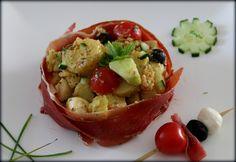 Salade de pommes de terre au jambon cru
