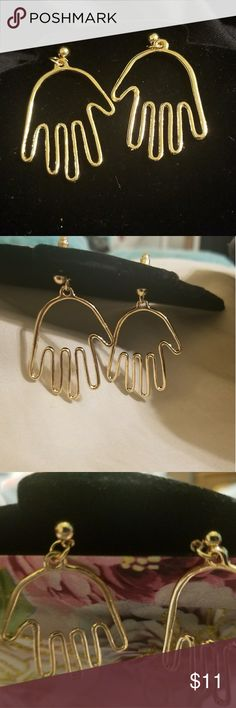 """The Hands Dangling Earrings Wired Hand Dangling Earrings Gold Plated Hand 1 1/4"""" by 1"""" Jewelry Earrings"""