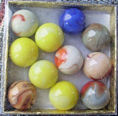 BOXED MISC JABO   MARBLES- BOX 6- 7/8 inch ones--Dave McCullough #JABO #Glass