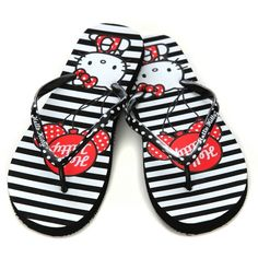 Hello Kitty black & red striped flip flops