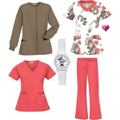 """UA Scrubs Rich Coral & Driftwood"" by uascrubs on Polyvore"