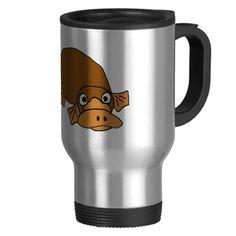 Duck Billed Platypus Cartoon Coffee Mugs #duckbilled #platypus #funny #mugs And www.zazzle.com/naturesmiles*
