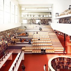 Üniversite kütüphane öğrenci merkezi merdiven iç mekan university library student centre stair interior
