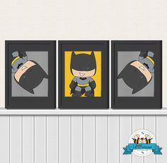Cute Batman Wall Art Printable 8x10 Poster- Digital Wall Art - Printable Art - Nursery Art - Kids Art - Superhero. $14.95, via Etsy.