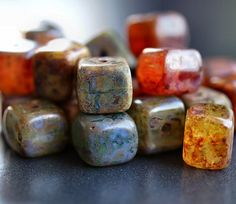 Czech Picasso Mix Cube Beads : 12 pc by BobbiThisnThat on Etsy
