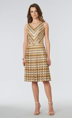 """David Meister Knife Pleat Knit Dress"""