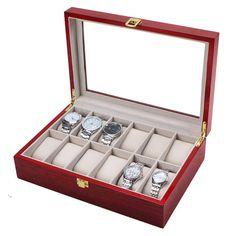 12 Watch Display Wood Case Top Glass Jewelry Organizesr Storage Boxes Men Gifts