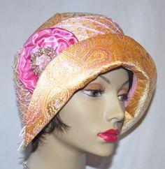 Gold, Pink, Cloche Hat,1920s hat, Flapper Hat, Art deco hat. via Etsy.