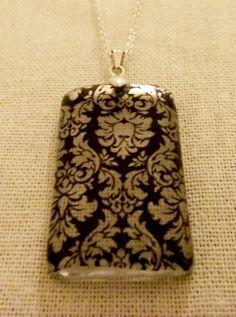 Damask Resin Pendant  http://www.facebook.com/DelicateAndDainty    #SterlingSilver #Resin #Jewellery #Pendant #£19.99