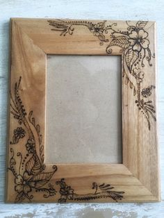 Wood burned flower frame by TheSimpleHomeLife on Etsy                                                                                                                                                                                 More