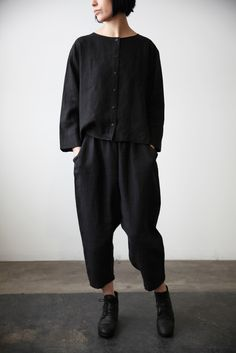 Black Linen Shirt | cendre