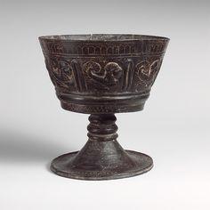 Terracotta chalice Period: Archaic Date: ca. 550 B.C. Culture: Etruscan Medium: Terracotta; bucchero pesante