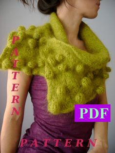 Scarf Knitting pattern,  Shibori  Knitted scarf,  Felted scarf , Bubbles,  Bobble