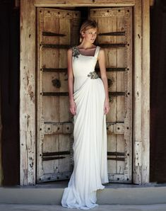 This Greco/Roman-esque #wedding dress is a head turner for sure.