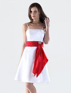 A-line Spaghetti Straps Knee-length Satin Bridesmaid/Wedding Party Dress - USD $ 59.39 White and red